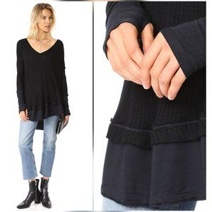 Free People Black Laguna Thermal Top